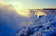 Niagara Falls on an icy cold winter morning.