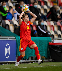 NEWPORT, WALES - Thursday, October 22, 2020: Wales' Rhiannon Roberts takes a throw-in during the UEFA Women's Euro 2022 England Qualifying Round Group C match between Wales Women and Faroe Islands Women at Rodney Parade. Wales won 4-0. (Pic by David Rawcliffe/Propaganda)