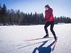 Teenage girl learning cross country skiing course, Black-Forest, Baden-Wuerttemberg, Germany