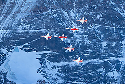 16.01.2020, Lauberhorn, Wengen, SUI, FIS Weltcup Ski Alpin, Vorberichte, im Bild Patrouille Suisse mit F/A-18 Swiss Hornet vor der Eiger Nordwand // Patrouille Suisse with F/A-18 Swiss Hornet ind front of North Face during a preliminary reports prior to the FIS ski alpine world cup at the Lauberhorn in Wengen, Switzerland on 2020/01/16. EXPA Pictures © 2020, PhotoCredit: EXPA/ Johann Groder