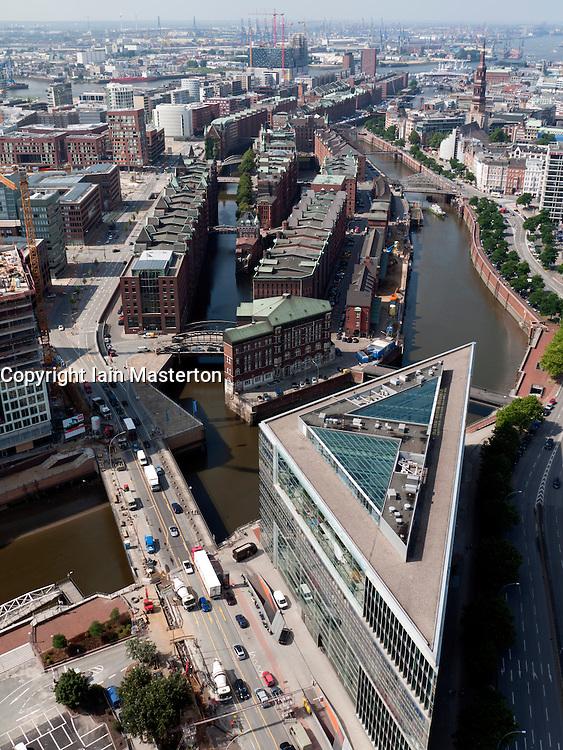 Cityscape of historic Speicherstadt and  Hafencity new urban redevelopment in Hamburg Germany