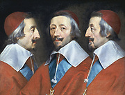 Triple portrait of Cardinal Richelieu' c1642. Armand Jean Duplessis, Duc de Richelieu (1585-1642) French prelate and statesman: Cardinal 1624: Minister of state to Louis XIII and de facto ruler of France Philippe de Champaigne (1602-1674) French painter.