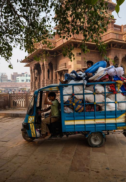JODHPUR, INDIA - CIRCA NOVEMBER 2016:  Typical cargo motorbike around the clock tower in Jodhpur.