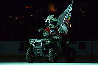 KELOWNA, BC - OCTOBER 12:Rocky Racoon, the mascot of the Kelowna Rockets rides onto the ice on his Polaris Sportsman ATV against the Kamloops Blazers  at Prospera Place on October 12, 2019 in Kelowna, Canada. (Photo by Marissa Baecker/Shoot the Breeze)