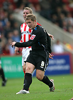 Photo: Rich Eaton.<br /> <br /> Cheltenham Town v Nottingham Forest. Coca Cola League 1. 13/10/2007. Forest's Kris Commons who scored 2 first half goals has another shot on goal.