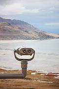 Binoculars overlooking Antelope Island, Great Salt Lake, Utah, United States of America