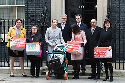 Downing Street, London, February 9th 2017. Former Education Secretary Nicky Morgan and Keith Vaz MP deliver a 130,000-strong petition to save the Glenfield Children's Heart Centre in the East Midlands from closure.