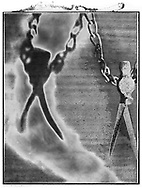 Solaroid - At The Circus - The Flying Trapeze - This series was inspired by Circus Archaos in 1989 to create a circus made up of characters constructed from rusty objects and depicted by shadows. The print surface is overlaid aith a crystal patina that developed as the polaroid negative dried.  This is a solarised polaroid photo art print by Paul Williams who invented the technique and is the only photographer to have used it. The process is no longer possible.