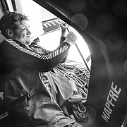 Leg 7 from Auckland to Itajai, day 02 on board MAPFRE, Antonio Cuervas-Mons is back fixing whatever get broke in the boat. 19 March, 2018.
