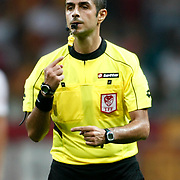 Refeere's Mete Kalkavan during their friendly soccer match Galatasaray between ACF Fiorentina at the TT Arena in istanbul Turkey on Wednesday 08 August 2012. Photo by TURKPIX