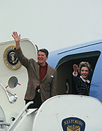 President Ronald Reagan and First Lady Nancy Reagan wave as they board Air Force One at Point Magu Naval Air Base in April 1985<br /><br />Photograph by Dennis Brack