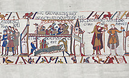 Bayeux Tapestry scene 27-28 :  A dying Edward the Confessor makes his last requests' BYX27 BYX 28 .<br /> <br /> If you prefer you can also buy from our ALAMY PHOTO LIBRARY  Collection visit : https://www.alamy.com/portfolio/paul-williams-funkystock/bayeux-tapestry-medieval-art.html  if you know the scene number you want enter BXY followed bt the scene no into the SEARCH WITHIN GALLERY box  i.e BYX 22 for scene 22)<br /> <br />  Visit our MEDIEVAL ART PHOTO COLLECTIONS for more   photos  to download or buy as prints https://funkystock.photoshelter.com/gallery-collection/Medieval-Middle-Ages-Art-Artefacts-Antiquities-Pictures-Images-of/C0000YpKXiAHnG2k