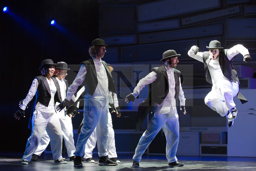 """© Licensed to London News Pictures. 17/02/2014. London, England. The international street dance show """"Blaze"""" returns to the Peacock Theatre after its world premiere three years ago with a cast of 16 dancers. Running from 18 Feb - 8 Mar 2014. Dancers: Davy Denkers; Ruben Verhoeven; Carlos Neto; Jomecia Oosterwolde and Cindy Minowa. Photo credit: Bettina Strenske/LNP"""