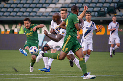 June 15, 2018 - Portland, Oregon, U.S. - PORTLAND, OR - JUNE 15:  Portland Timbers midfielder Sebasti‡n Blanco takes a shot on goal during the Portland Timbers game versus the LA Galaxy in a United States Open Cup match on June 15, 2018, at Providence Park, OR. (Photo by Diego G Diaz/Icon Sportswire) (Credit Image: © Diego Diaz/Icon SMI via ZUMA Press)