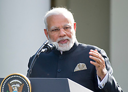 Prime Minister Narendra Modi of India delivers a joint statement with United States President Donald J. Trump in the Rose Garden of the White House in Washington, DC, USA, on Monday, June 26, 2017. Photo by Ron Sachs/CNP/ABACAPRESS.COM