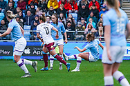 Manchester City Women forward Georgia Stanway (10) scores a goal and celebrates to make the score 2-0 during the FA Women's Super League match between Manchester City Women and West Ham United Women at the Sport City Academy Stadium, Manchester, United Kingdom on 17 November 2019.