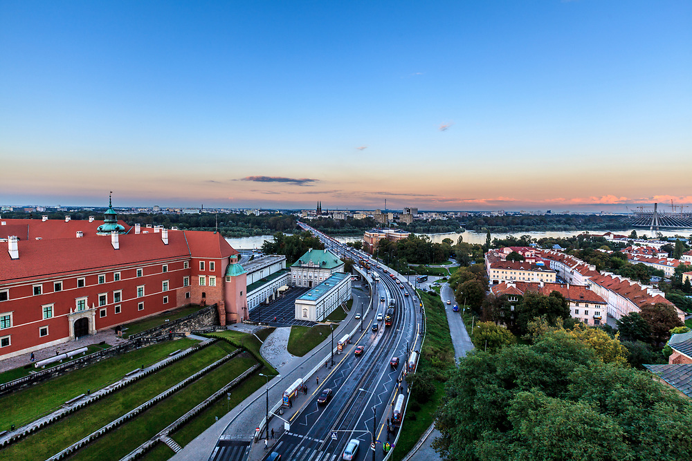 Solidarnosci avenue and Śląsko-Dąbrowski Bridge in Warsaw, Poland. This major road with tramway lane leads from Old Town to eastern parts of the city.