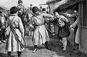 Russo-Japanese War 1904-1905:  Cossacks searching for Japanese spies in a Manchurian village.