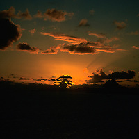 French Polynesia, Tahiti, Taha'a. Sunset background.