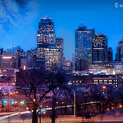 Kansas City skyline seen from Hospital Hill in the winter