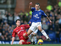 Photo: Paul Thomas.<br /> Everton v Reading. The Barclays Premiership. 14/01/2007.<br /> <br /> Leon Osman (R) of Everton battles with Nicky Shorey.