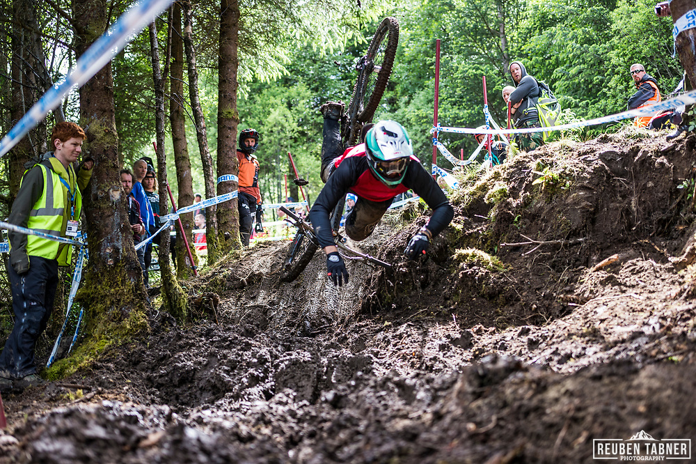 Kiran Mackinnon prepares to get up close and personal with the mud during Sunday practise at the UCI Mountain Bike World Cup in Fort William.