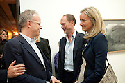 HANS-ULRICH OBRIST; HARRY BLAIN;  BODIL BLAIN;, Gerhard Richter: Panorama. Tate Modern. London. 4 October 2011. <br /> <br />  , -DO NOT ARCHIVE-© Copyright Photograph by Dafydd Jones. 248 Clapham Rd. London SW9 0PZ. Tel 0207 820 0771. www.dafjones.com.