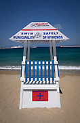 Lifeguard tower on beach, Mykonos Town, Mykonos island, Greece