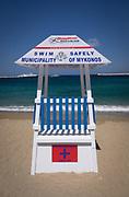 Lifeguard tower on beach, Mykonos Town, Mykonos island, Greece