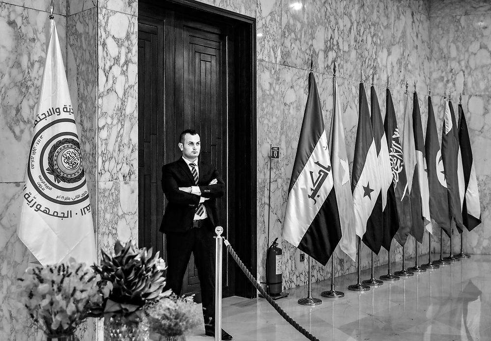 A security officers stands guard in front of a roped off area for the media at the presidential palace in Baabda, Lebanon.