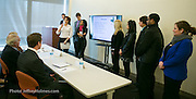 Preliminary Round of student's business case study presentations to judges panel during Virtual Enterprises International's Global Business Challenge was part of the Youth Business Summit held at NYU's Kimmel Center in New York on April 1, 2014. (Photo: JeffreyHolmes.com)