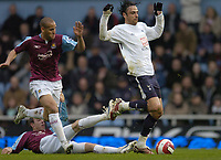 Photo: Olly Greenwood.<br />West Ham United v Tottenham Hotspur. The Barclays Premiership. 04/03/2007. Spurs DImitar Berbatov is fouled by West Ham's Lee Bowyer