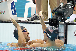 Matthew Grevers of the USA after winning gold during the men's 100m Backstroke final  held at the aquatics centre at Olympic Park  in London as part of the London 2012 Olympics on the 30th July 2012.Photo by Ron Gaunt/SPORTZPICS