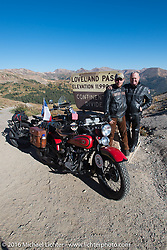 Father and Son - Mike Carson with his 1924 Harley-Davidson JE and son Buck Carson with his 1936 Harley-Davidson R on top of the Continental Divide at Loveland Pass during Stage 10 (278 miles) of the Motorcycle Cannonball Cross-Country Endurance Run, which on this day ran from Golden to Grand Junction, CO., USA. Monday, September 15, 2014.  Photography ©2014 Michael Lichter.