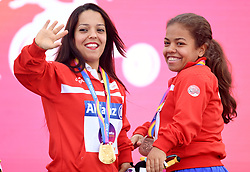 Tunisia's Abdelli Rima and Raja Jebali with their gold and bronze medals respectively in the Women's Shot Put F40 during day four of the 2017 World Para Athletics Championships at London Stadium. PRESS ASSOCIATION Photo. Picture date: Monday July 17, 2017. See PA story ATHLETICS Para. Photo credit should read: Victoria Jones/PA Wire. RESTRICTIONS: Editorial use only. No transmission of sound or moving images and no video simulation.