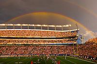 A rainbow over the stadium, Denver Broncos vs. Pittsburgh Steelers NFL football game, Invesco Field at Mile High (stadium), Denver, Colorado USA