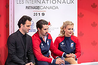 KELOWNA, BC - OCTOBER 25:  American ice dancers Madison Hubbell and Zachary Donohue await their score for rhythm dance of Skate Canada International at Prospera Place on October 25, 2019 in Kelowna, Canada. (Photo by Marissa Baecker/Shoot the Breeze)