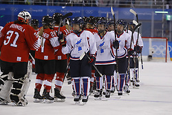 February 18, 2018 - Pyeongchang, KOREA - Korea shakes hands with Switzerland after a hockey game between Switzerland and Korea during the Pyeongchang 2018 Olympic Winter Games at Kwandong Hockey Centre. Switzerland beat Korea 2-0. (Credit Image: © David McIntyre via ZUMA Wire)