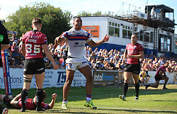 Wakefield Trinity Wildcats Reece Lyne celebrates scoring 2nd half try during the Betfred Super League match at Belle Vue Stadium, Wakefield.