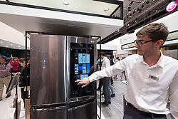 LG fridge / freezer with large touch screen display at 2016  IFA (Internationale Funkausstellung Berlin), Berlin, Germany