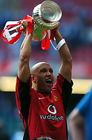 Mikael Silvestre Manchester United celebrates with the FA Cup<br />Manchester United v Millwall F/A Cup Final 22/05/04 (3-0)<br />Photo Robin Parker Fotosports International