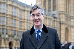"""© Licensed to London News Pictures. 13/03/2019. London, UK. Brexit supporter Jacob Rees-Mogg MP in Westminster this morning. MPs will vote on whether to remove the option of a """"no deal"""" departure from the EU today, after Prine Minister Theresa May's proposed deal was defeated for a second time last night. Photo credit: Rob Pinney/LNP"""