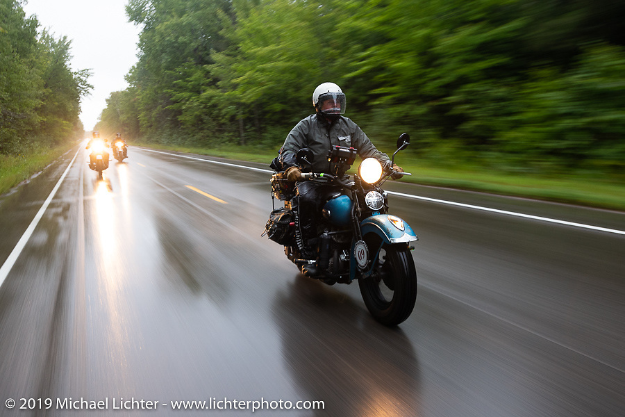 Chris Tribbey riding his 1947 Harley-Davidson WL Flathead in the Cross Country Chase motorcycle endurance run from Sault Sainte Marie, MI to Key West, FL. (for vintage bikes from 1930-1948). Stage 1 from Sault Sainte Marie to Ludington, MI USA. Friday, September 6, 2019. Photography ©2019 Michael Lichter.