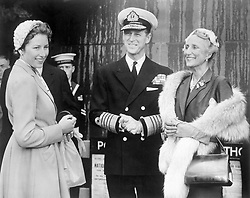 The Duke of Edinburgh greets Crown Princess Martha and Princess Astrid (left) of Noway as they arrived, with Crown Prince Olav (not in photo) at Westminster Pier, London.<br /> They are in London to represent the ailing King Haakon VII of Norway at the Coronation.