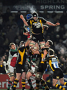 Wycombe, GREAT BRITAIN,   Wasps', Richard BIRKETT, win's the line out ball, during the London Wasps vs Harlequins, rugby match at Adam's Park Stadium, Bucks on Sun 04.01.2009. [Photo, Peter Spurrier/Intersport-images]