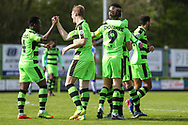 FGR players celebrate Forest Green Rovers Christian Doidge(9) goal, 1-0 during the Vanarama National League match between Forest Green Rovers and Chester FC at the New Lawn, Forest Green, United Kingdom on 14 April 2017. Photo by Shane Healey.
