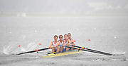 Shunyi, CHINA.  Heat of the Lightweight men's four, GBR LM4-, Bow, Richard CHAMBERS, James LINDSAY FYNN, Paul MATTICK and James CLARK, move away from the start, at the 2008 Olympic Regatta, Shunyi Rowing Course. Sunday 10.08.2008  [Mandatory Credit: Peter SPURRIER, Intersport Images]