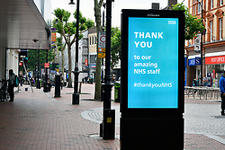Broad street pedestrianised area showing signage relating to Covid-19. Easing of Coronavirus lockdown, Reading, UK 12 June 2020