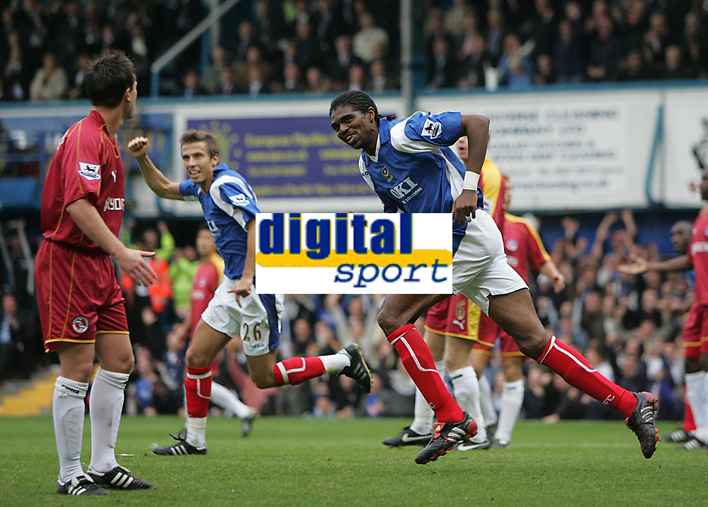 Photo: Lee Earle.<br /> Portsmouth v Reading. The Barclays Premiership. 28/10/2006. Portsmouth's Kanu (R) turns away to celebrate after scoring their second.