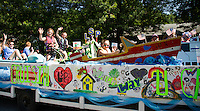 "The Lake Shore Park float is ""cruisin' any which way they can"" during the Gilford Old Home Day parade on Saturday morning.  (Karen Bobotas/for the Laconia Daily Sun)"
